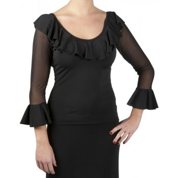 Black Flamenco Top Tulle Sleeves