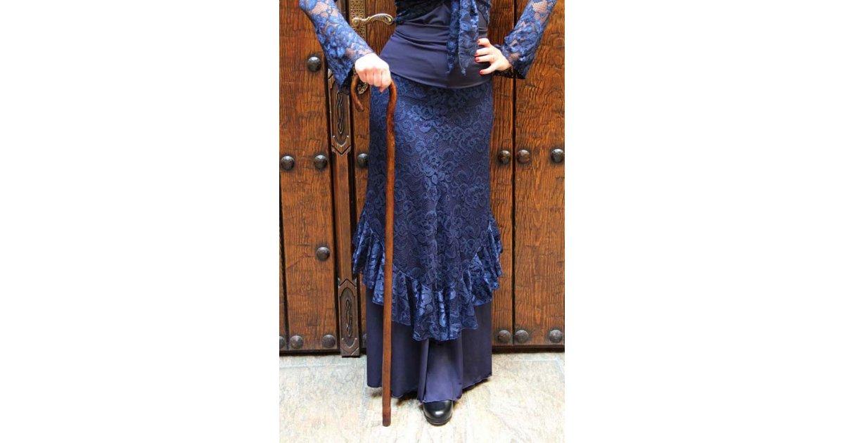 Bastón de baile flamenco madera oscura barnizado