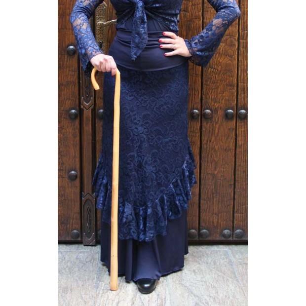Bastón de baile flamenco liso torneado barnizado