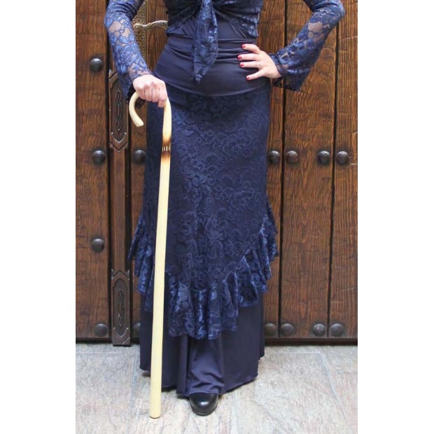 Flamenco dancing cane with burned stripe varnished