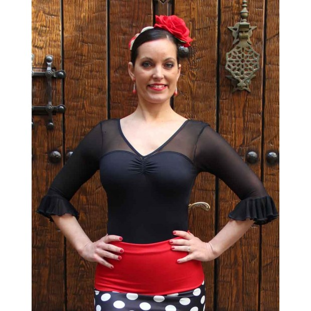 Black Flamenco Maillot with Microtul Sleeves