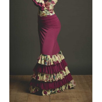 Ibi Bougainvilla Flamenco Skirt with Flowers Ruffles