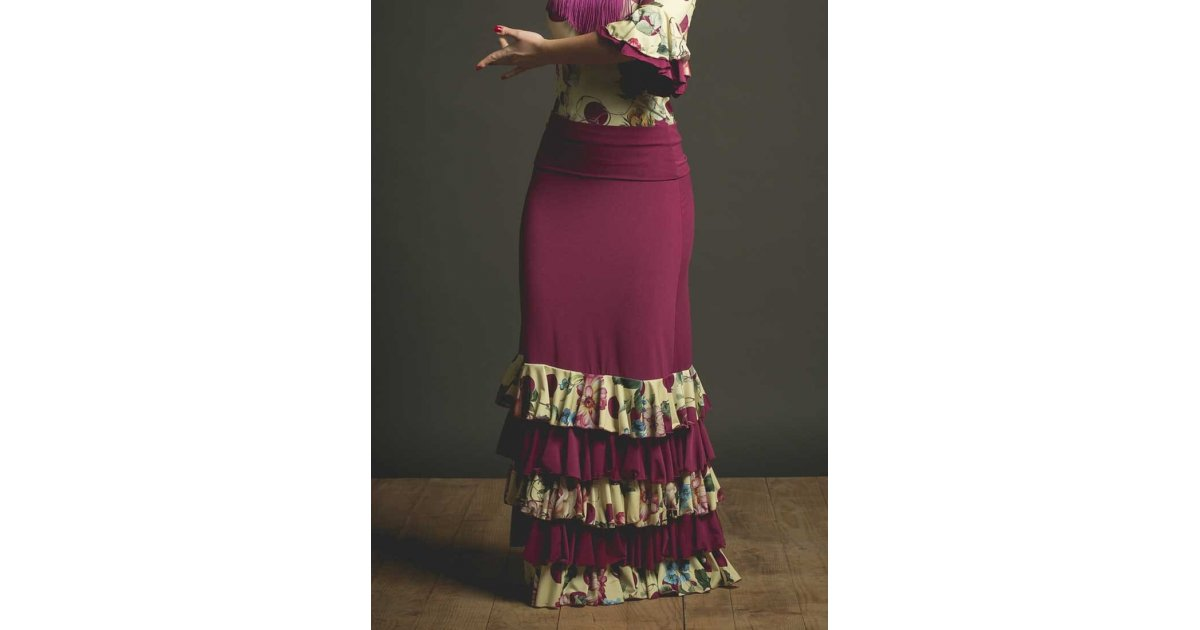 Falda Flamenco Ibi Buganvilla con Volantes de Flores