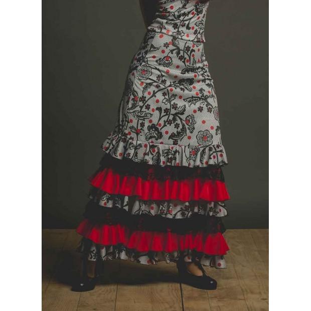 Falda Flamenco Lozoya Estampada y Volantes