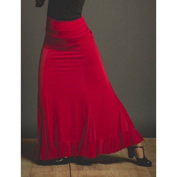 Red Velilla Flamenco Skirt with Sash