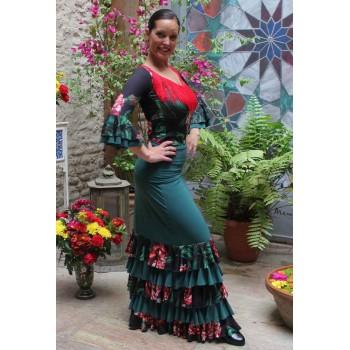 Jupe Flamenco Ibi Vert avec Volants Fleurs