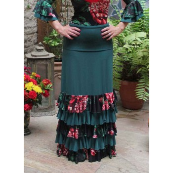 Flamenco Ibi Green Skirt with Flowers Ruffles