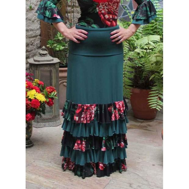 Falda Flamenco Ibi Verde con Volantes de Flores