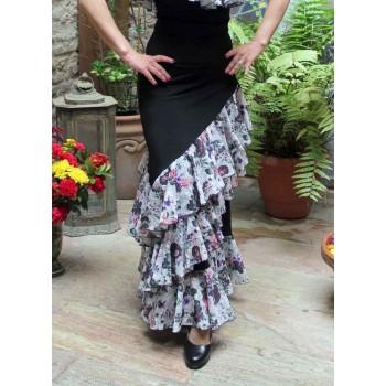 Falda Flamenco Onil Negra y Estampada