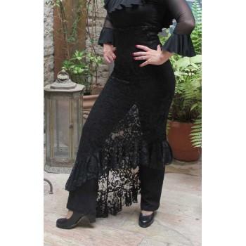Falda Flamenco Blonda Negra