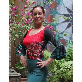 Flamenco Top Elda Print Flowers and Red Fringes
