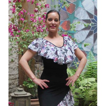 Jerte Black and Print Flamenco Top