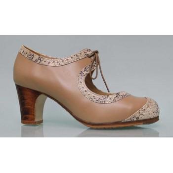 Professional beige and fantasy skin flamenco dance shoe