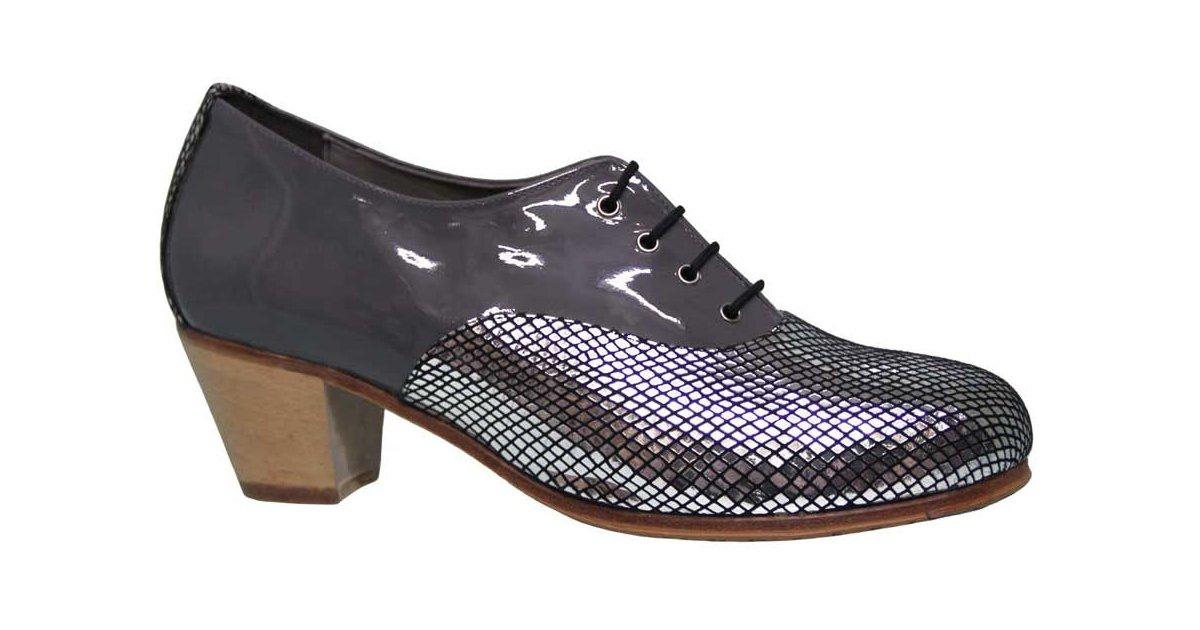 Chaussure Fantasy Combinée Professionnelle et Cuir Verni Gris