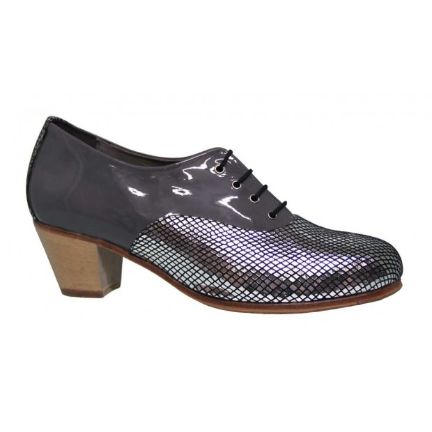 Combined Gray and Fantasy Patent Leather Flamenco Shoe