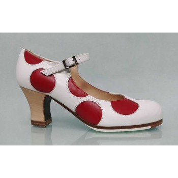 Professional white skin and red leather polka dots with buckle