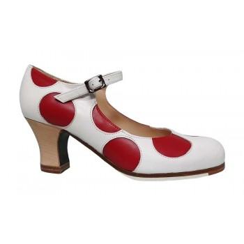 Professional Flamenco Dance Shoe White and Polka Dot Skin