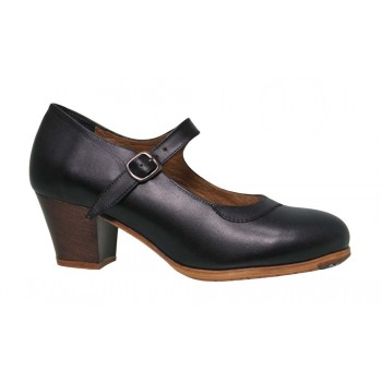 Black Leather Professional Shoe with Buckle
