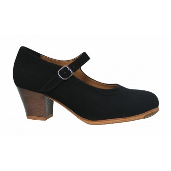 Professional Black Suede with Buckle Cuban Heel