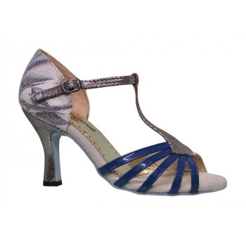 Blue and Fantasy Patent Leather Combined Salon Shoe