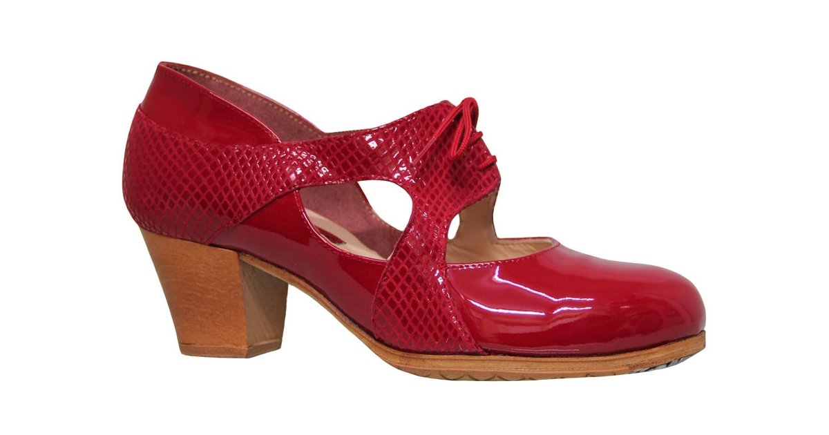 Combined Red and Fantasy Patent Leather