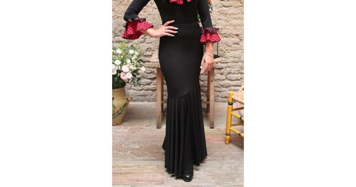 Falda Flamenco Negra Entallada