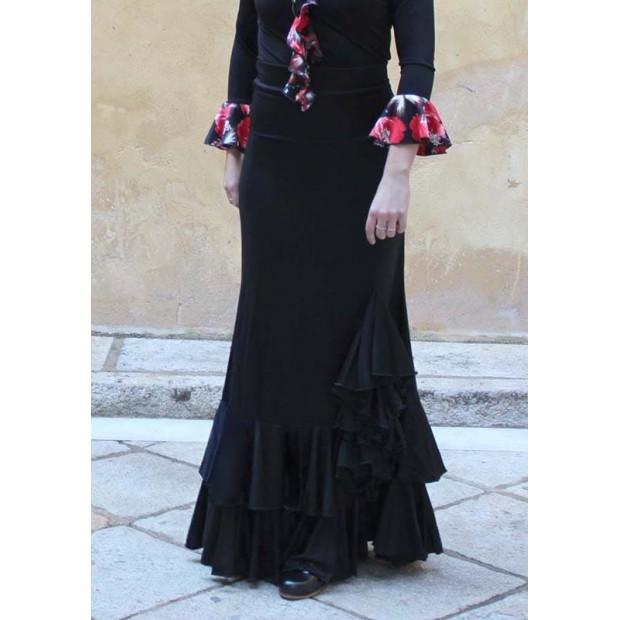 Flamenco skirt with 2 ruffles and chorrera