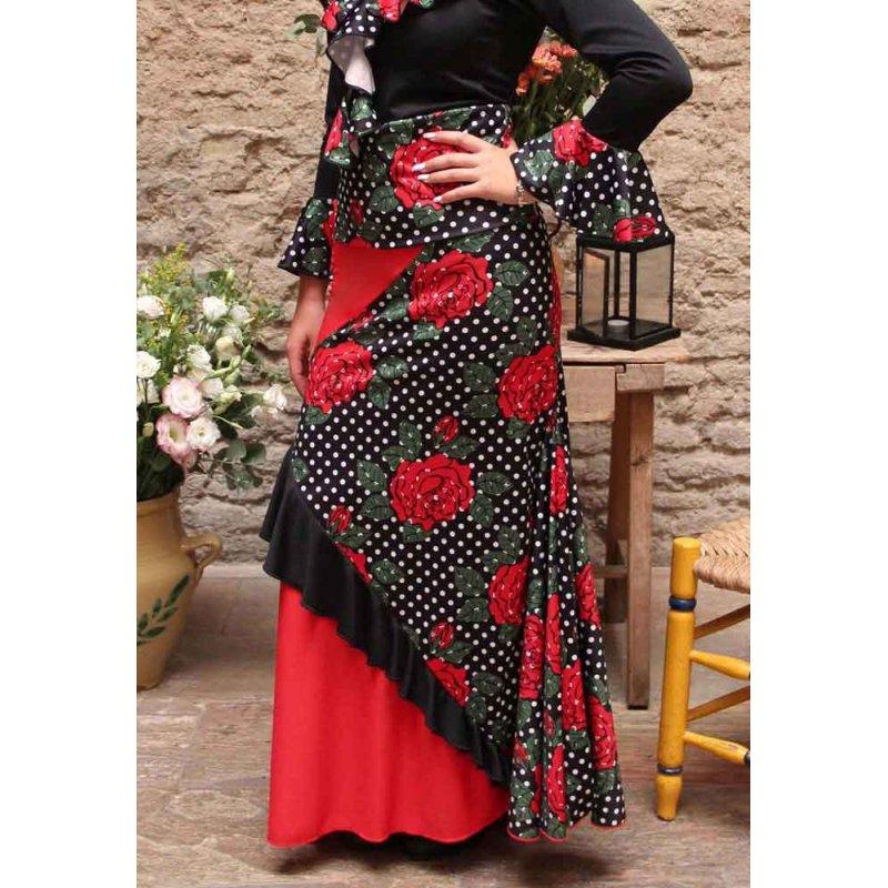 a175cc685 Falda Flamenco Combinada Flores y Lunares - Zapatos de Baile Flamenco