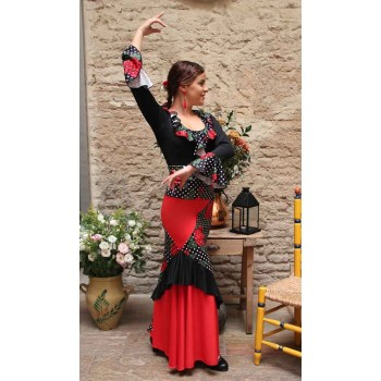 Combined Flamenco Skirt Flowers and Polka Dots