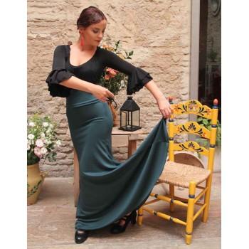 Falda Flamenco Verde Botella Entallada