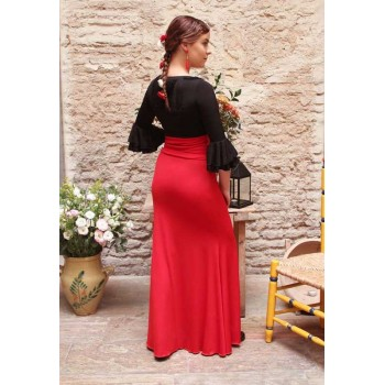 Jupe Flamenco Ajustée Rouge
