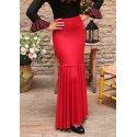 Red flamenco dance skirt adjusted.