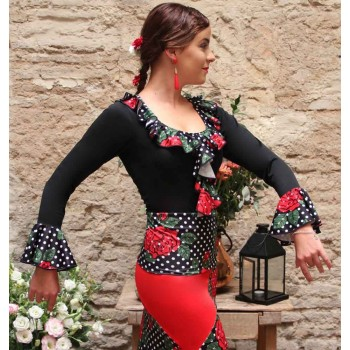 Top Flamenco Noir avec Chorrera Imprimé