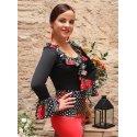 Black Flamenco Top with Printed Chorrera