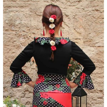 Black Flamenco Top with Printed Chorrera