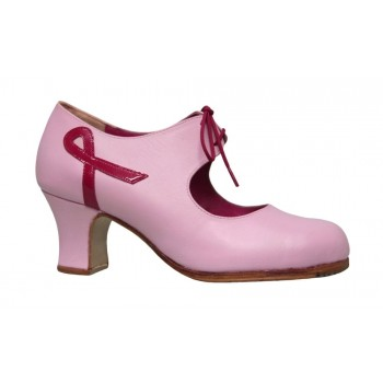 Pink leather flamenco dance shoe