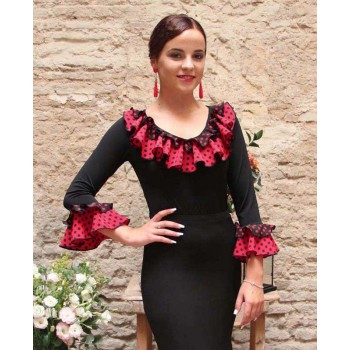 Black Flamenco Top with Polka Dot Ruffles