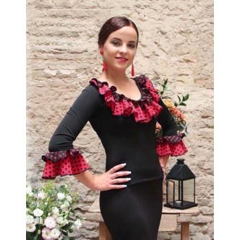 Top noir flamenco à volants à pois