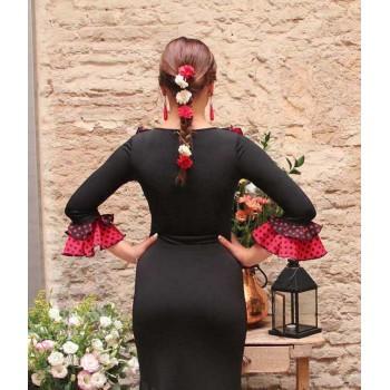 Black Flamenco Top with Polka Dot Ruffles