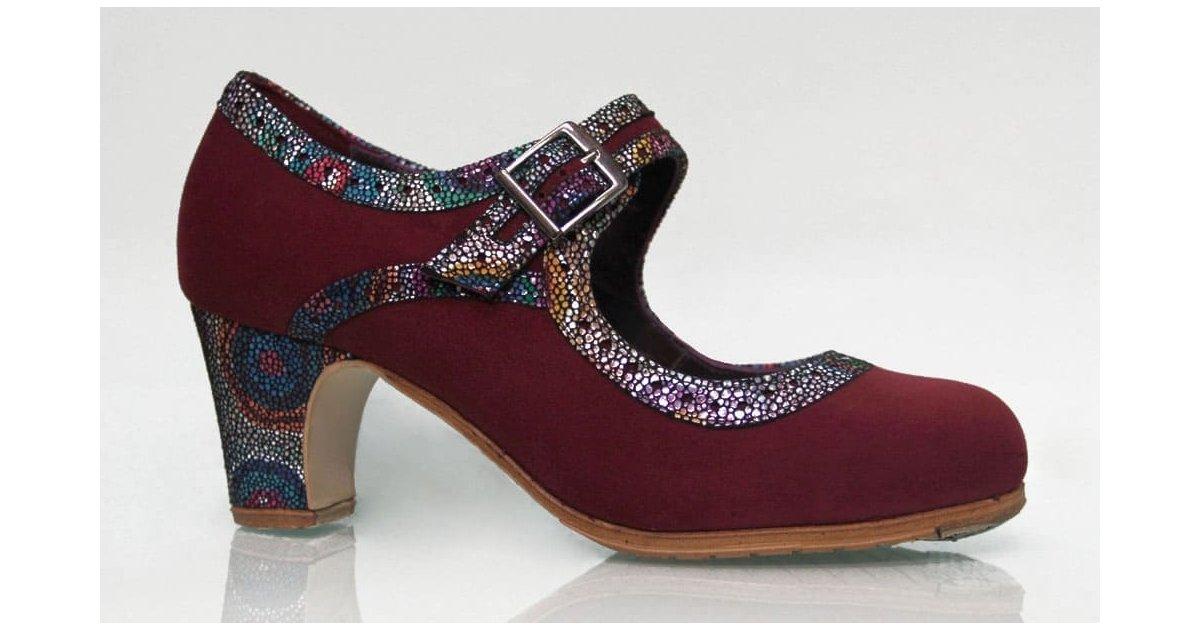 Chaussure professionnelle en daim bordeaux à large boucle