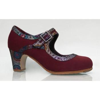 Zapato Profesional Ante Burdeos con Hebilla Ancha