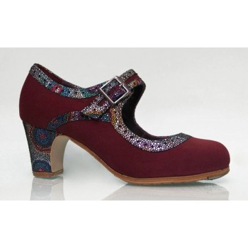 Professional Burgundy Suede Shoe with Wide Buckle