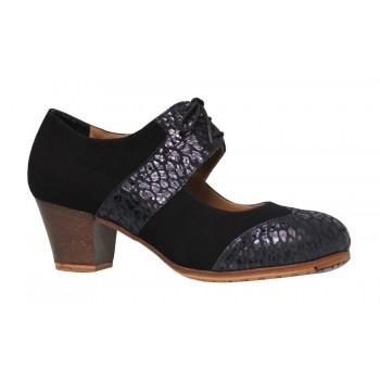 Chaussure professionnelle en daim avec cuir noir et fantaisie avec lacets