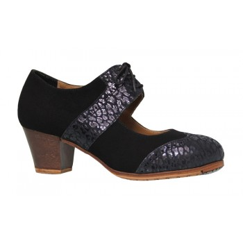 Professional flamenco dance shoe black suede leather and fantasy skin
