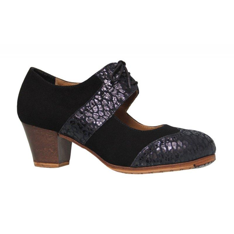 prix réduit bons plans 2017 premier taux Chaussure de danse flamenco professionnelle en daim noir et peau fantaisie