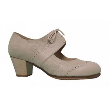 Zapato profesional piel fantasía y piel hueso con cordones
