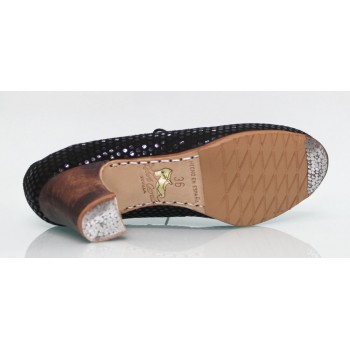 Chaussure professionnelle fantaisie noire avec lacets
