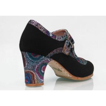 Zapato Profesional Ante Negro y Fantasía con Hebilla Ancha