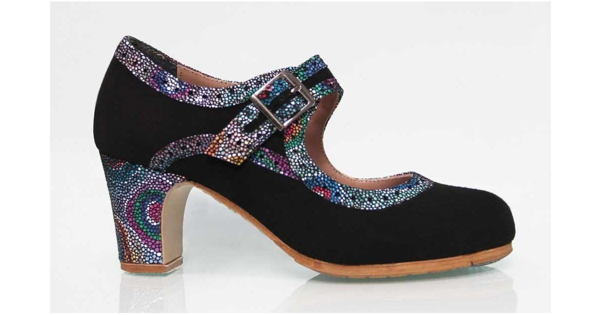 Professional Shoe Black and Fantasy with Wide Buckle