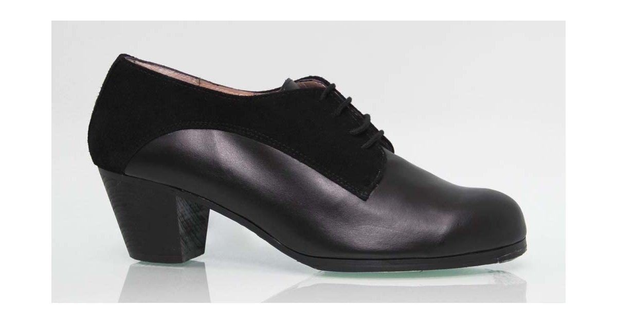 Zapato Profesional Combinado Piel y Ante Negro